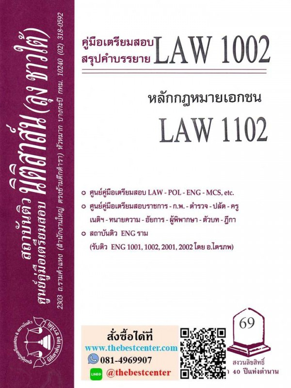 สรุปคำบรรยาย LAW 1002 (LAW 1102) หลักกฎหมายเอกชน โดย นิติสาสน์ ลุง ชาวใต้