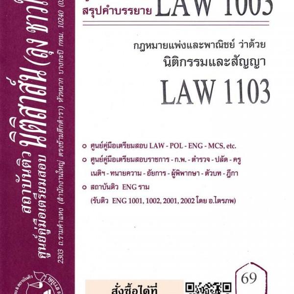 สรุปคำบรรยาย LAW 1003 (LAW 1103) กฎหมายแพ่งและพาณิชย์ว่าด้วยนิติกรรมและสัญญา โดยนิติสาสน์ ลุงชาวใต้-